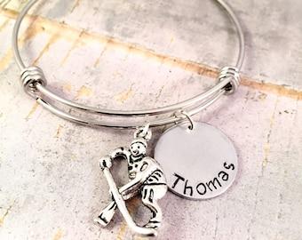 Hockey Bracelet, Hockey mom bracelet, Hockey bangle bracelet, Team mom gift, Ice Hockey