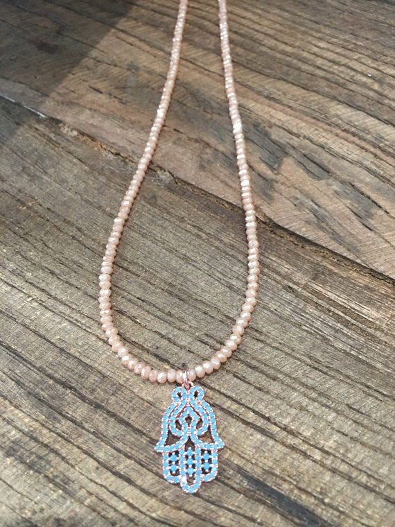Turquoise Pave Hamsa & Crystal Necklace