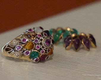Princess Ring/ Thai Princess Ring/ Siamese Princess Ring/ Harem Ring/ Mulit gemstone Ring/  18 k Gold