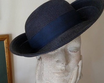 Elegant Navy Blue Man-made Straw Hat with double Upturned brims/ Millinery Rose/ Grosgrain Ribbon