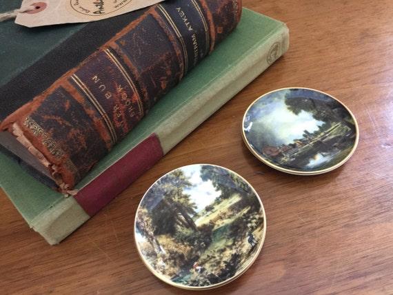 2 Crown Staffordshire Miniature Wall Plates - Crown Staffs Fine Bone China Pin Dish - Fine Art Collectables - Bone China Miniatures