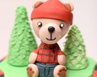 Lumberjack Bear Cake Topper / Decoration/ Fondant