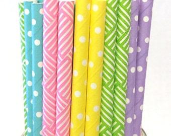 2.85 US Shipping -Spring Paper Straws - Easter paper straws - Cake Pop Sticks - Drinking Straws