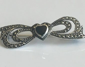 Onyx brooch, Onyx and marcasite vintage brooch, heart brooch