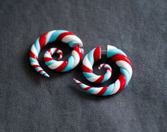 Spirals fake gauge earrings sweet white blue and red candys lollipops fake plugs fake gauges