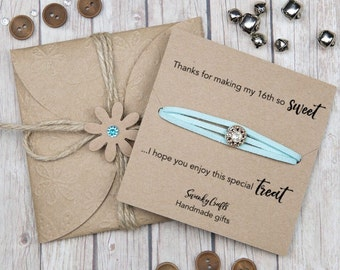 Sweet 16 favors - sweet 16 Bracelets - party favours - wrap Bracelets - birthday Party Gifts - sweet 16 gifts - gifts under 10 - custom gift