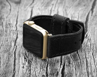 Black Genuine leather apple watch band 42mm / 38mm // apple watch strap leather - iwatch band leather accessories - iwatch strap adapter