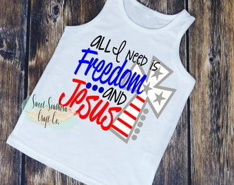 FREE SHIPPING*All I Need is Freedom & Jesus Toddler Muscle Shirt,4th of July,America,Merica,Independence Day,Toddler Tank Top,Jesus
