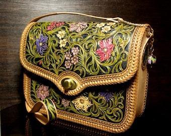 Hand-tooled  leather bag, carved handbag, tooled purse, leather women's bag, carved bag, sheridan bag, floral bag, tooled bag, shoulder bag