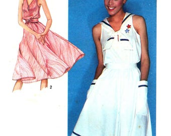 80s Simplicity 9475 Sleeveless, Sailor Collar or Keyhole Neck Dress with Full, Flared Skirt, Trimmed Sewing Pattern Size 10