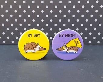 Hedgehog Badge or Magnet Set - Superhero - Original Hand Drawn - Quirky Button Badge Set - Super Hog