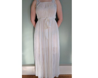 1960s White Pleated Chiffon Night Gown, Vintage Sheer Lingerie, Grecian Goddess Pin-Up Gown, Honeymoon Gown, Princess Nightgown,Medium Large