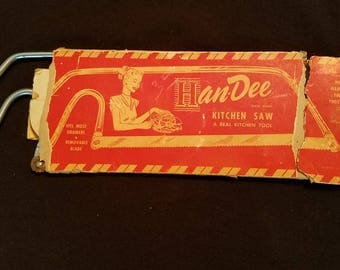 HANDEE KITCHEN SAW Bone Cold-rolled Steel Chrome Blade Tool Cut Hardware Original Package Vintage Retro