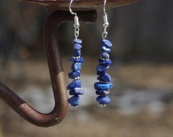 Lapis Lazuli Earrings ~ Blue Stones ~ Irregular Stones ~  Healing Stones ~ Birthday Gift ~ Anniversary Gift ~ Cruise Wear
