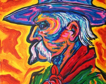 The Marshall *Giclee print, outlaw, southwest, western, colorful, wall art, impressionism, matted fine art print,
