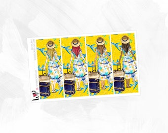 Pack A Bag Double Boxes - Matte Glossy Erin Condren Planner Stickers - Pink Yellow Navy Blue Travel Summer Vacation Nautical