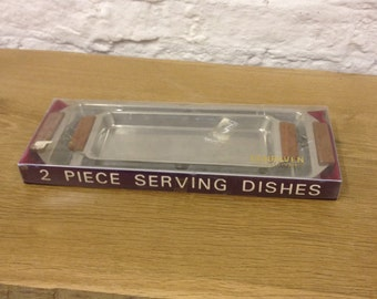 Vintage Dunraven Stainless Steel Serving Tray Set - New, Virtually Unused & Boxed.