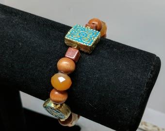 Wooden Orange Amber Bracelet