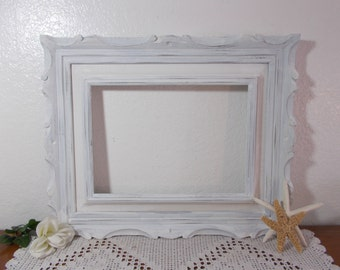 Large Rustic White Shabby Chic Distressed Picture Frame 10 x 14 Photo Decoration Wedding Reception Country Farmhouse Home Decor Gift Her