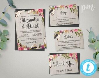 Printable Boho Wedding Invitation Template Set + RSVP + Details + Thank You Card, Boho Wedding Invite, Printable Wedding Invites, Boho Chic