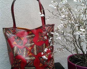 large shoulder bag Tuareg leather Tote style