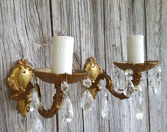 Pair of French Vintage Brass and Crystal Droplet Wall Lights  -  French Wall Sconces  -  Vintage Faux Candle Wall Light Fittings