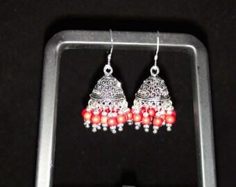 Tibetan Dome Red Howlite Dangle Earrings