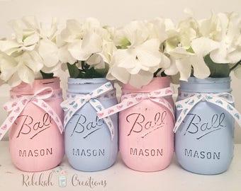 Gender Reveal Mason Jars, Gender Reveal Decor, Buck or Doe Mason Jars, Rustic Baby Shower, Baby Shower Mason Jars, Pink and Blue Mason Jars