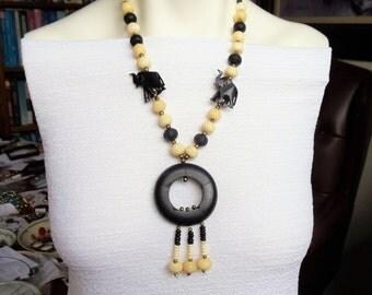 Vintage Tribal Elephant Ebony Wood Pendant Necklace, Black & White Exotic Hand Carved Pendant w/Tassels Ebony Wood Necklace, Boho Jewelry
