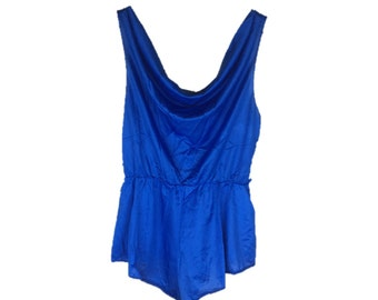Vintage Romper   80s Lingerie   70s Blue Romper   1980s Onesie   One-piece Lingerie   1970s Playsuit   Blue Lingerie Romper   S Medium M