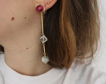 golden statement earrings with gemstones