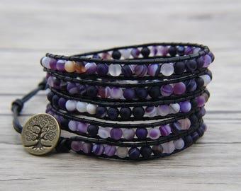 Cuff wrap bracelet Matte Purple Onyx agate bead bracelet BOHO bead wrap bracelet leather wrap bracelet Tree of life Charm bracelet SL-0553