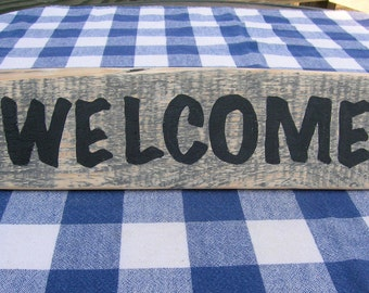 Welcome Wood Sign - Rustic, Gray Stain - Welcome Door Hanging, Porch, Deck, Wall Hanging