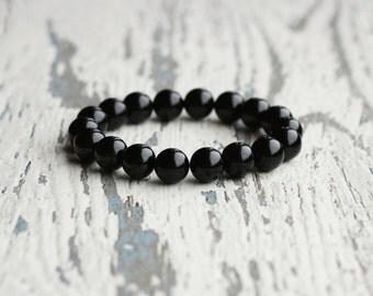 onyx bracelet men beaded bracelet black onyx, womens jewelry gemstone, father, boyfriend gift for husband, men's jewelry, onyx stone, goth