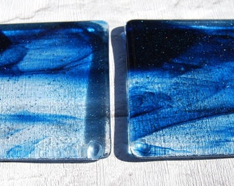 Pair of Blue Sparkly Glass Coasters.  Handmade and Unique Fused Glass Coasters. Perfect present or gift for any occasion