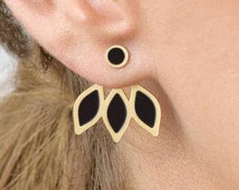 Ear Jackets Earrings, Gold&Black Earrings, Front Back Earring, Gold Ear Jacket Earring, Double Sided Earring, Leaf Ear jacket, Gift For Her