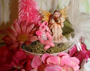 Pink Fairy and Dragon Teacup Fairy Garden