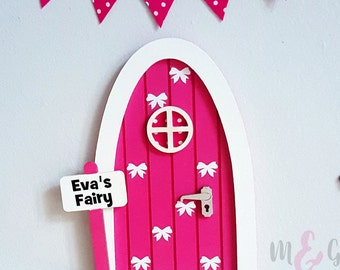 Personalised fairy door hot pink - brilliant gift for girls and girls room decor - pretend play - tooth fairy door - elf - bow - magic