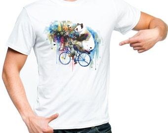 panda tshirt man woman tshirt animal cotton tshirt raphic tee white tshirt gray dreams panda shirt panda painted paints bike tee art