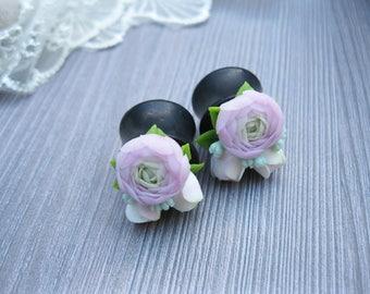 Wedding ear plugs gauges Flower ear plugs Nature ear gauges Size 0 gauges Eco ear plugs Gauges earrings  Rose ear gauges Succulent plugs
