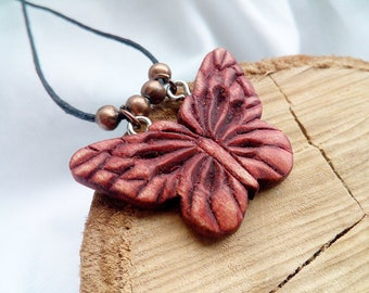 SALE ! Butterlfy Wood Pendant Necklace Handmade Carved, Butterfly Wood Necklace, Wood Carving Jewelry, Gift For Woman, For Her