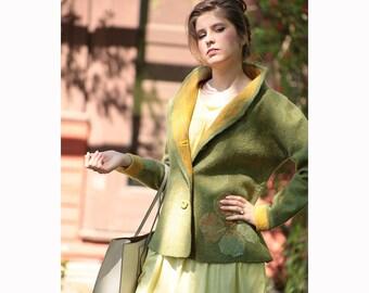 Felted wool jacket, women's jacket, green jacket, seamless jacket, size small, yellow flowers decor, felted clothing,  wearable fiber art