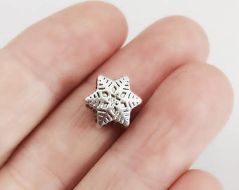 Silver Snowflake Bead / Large Hole Winter Bead / Detailed Euro Snow Flake Bead / Antique Silver Large Hole Bead / 9 x 11 mm / BE56