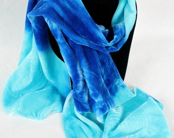 Bright Blue to Dark Blue Ombre Silk Velvet Devore Scarf with Labyrinth Design Perfect Gift for Valentine's/Mother's Day/Birthday/Christmas