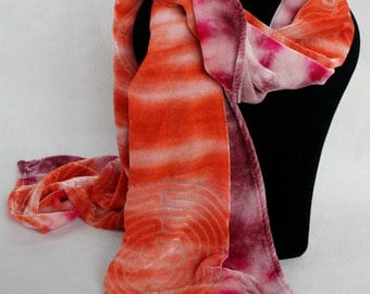 Orange/Fuchsia Hand-Dyed Devore Silk Velvet Scarf with Labyrinth Design Perfect Gift for Valentine's/Mother's Day/Birthday/Christmas