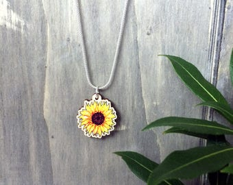 Sunflower Charm Necklace with Wooden Flower Pendant & choice of Sterling Silver Chain or Grey Faux Suede Cord, unique gift idea for summer