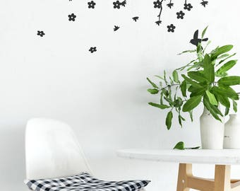 Apple Blossom Branch Vinyl Wall Decal for Home Improvement | Nature Flowers Tree | Decals for Home Warming | Interior Design | Wall Decor