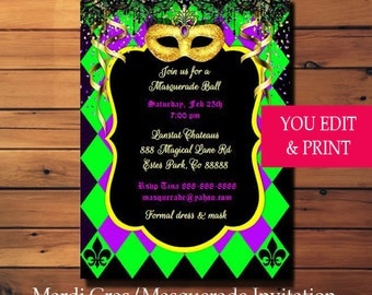 Mardi Gras Invitation, Mardi Gras Party Invitation, Masquerade Invitation, Masquerade Party Invitation, Gold Glitter Mask, EDIT YOURSELF