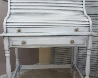 SOLD!! Shabby Chic Secretary Desk, Vintage Roll Top Desk, Hand Painted and Distressed in Layers of Antique White Over Gray