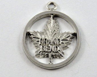 Grand Bend on Canadian Maple Leaf Sterling Silver Pendant or Charm.